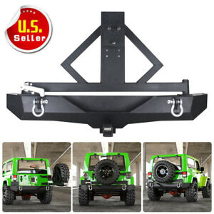Rock Crawler Black Rear Bumper Tire Carrier Hitch For 87 06jeep Wrangler Tj Yj C
