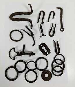 Old Vintage Antique Rusted Rings Hooks And Other Hardware Lot Of 21 Colonial
