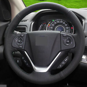 For Honda Crv 2012 16 Genuine Leather Diy Car Steering Wheel Cover Black