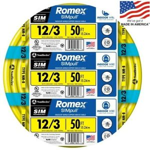 Romex Simpull 50 ft 12 3 Moisture Resistant Non metallic Wire by the roll