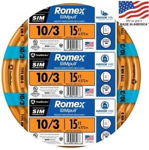 Romex Simpull 15 ft 10 3 Moisture Resistant Non metallic Wire by the roll