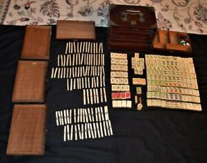 Antique Rare China Mahjong Mah Jong 152 Tiles 105 Sticks Set W Rosewood Box