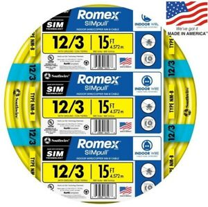 Romex Simpull 15 ft 12 3 Moisture Resistant Non metallic Wire by the roll