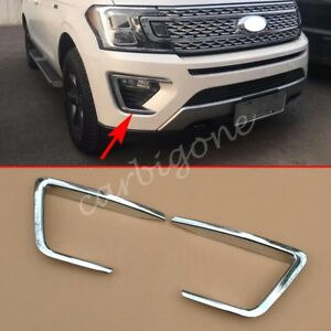 Chrome Front Fog Light Cover Lamp Trim For Ford Expedition 2018 2019 Accessories
