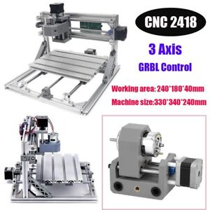 Cnc 2418 3 Axis Grbl Control Mill Router Kit Aluminum Frame Pcb Milling Machine