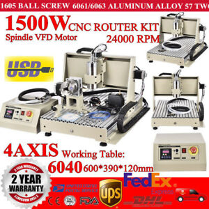 Usb 4 Axis Cnc Router Engraver Engraving Carving Machine 1500w 6040z Desktop