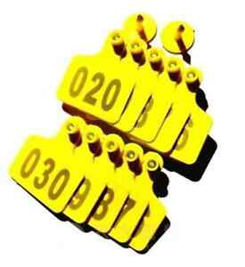 100sets New Yellow 50 40mm Sheep Goat Hog Beef Cow Ear Tag Lable With Number