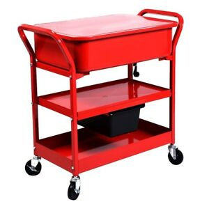 Mobile Parts Washer Cart Electric Solvent Pump Cleaner 37 x16 x35 Us