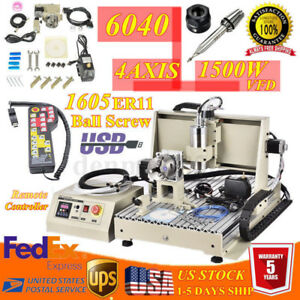 Usb 1 5kw 4 Axis Cnc 6040 Router Engraver Engraving Milling drill Machine Rc