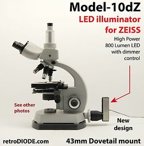 Led Illuminator Retrofit Kit With Dimmer Control For Older Zeiss Microscopes