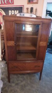 Vintage Art Deco China Closet Buffet Display Cabinet Cupboard Mirror Marquetry