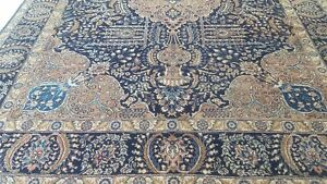 8 3 X 11 Large Vintage Blue Persian Oriental Rug Hand Knotted Wool