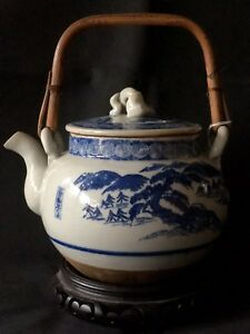 Antique Japanese Blue And Whire Porcelain Teapot Meiji Period Marked