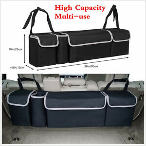 Black High Capacity Multi Use Car Seat Back Organizers Bag Interior Accessories
