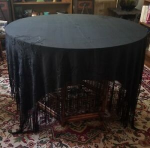 Victorian Mourning Embroidered Black Silk Shawl Fringe Antique Tablecloth