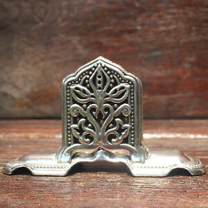 Brighton Standing Desk Business Card Holder Silver Plated Hearts Flowers Love