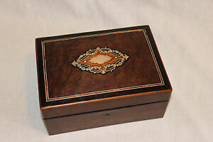 Antique French Napoleon Iii Marquetry Box With Brass Inlay