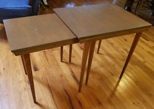 Mid Century Modern Nesting Tables End Side 1950s Vintage