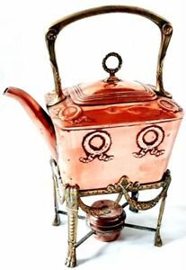 Victorian English Copper Spirit Tea Kettle With Brass Stand