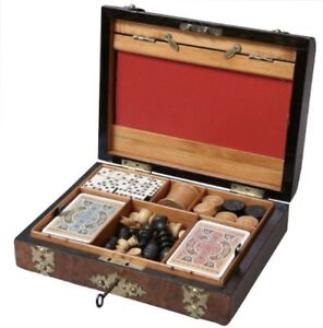Antique English Walnut Games Box Compendium Chess Draughts Dominoes Dice