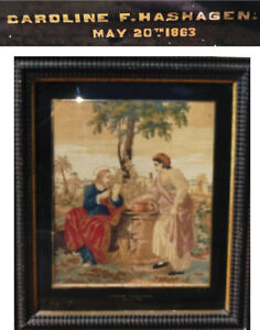 1863 Antique Civil War Jesus And Woman At The Well Embroidery Bible 1611 Sampler