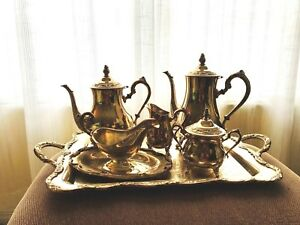 Antique International Silver Co Silver Plated Tea Set Of 5 Pc With Footed Tray