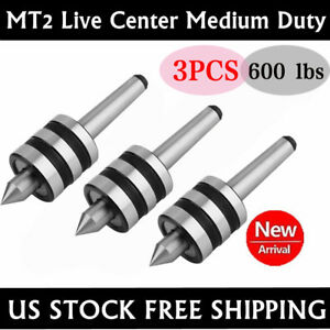 3x Mt2 Live Center Morse Taper 2mt Triple Bearing Lathe Medium Duty Cnc New My