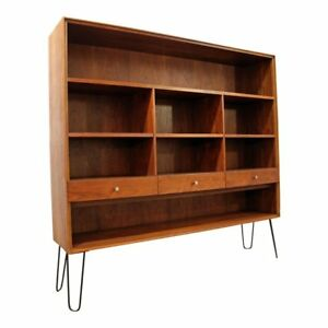 Mid Century Danish Modern Paul Mccobb Walnut Bookcase Shelf On Hairpin Legs