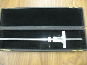 Starrett No 448 Vernier Depth Gauge With 12 Blade In Carrying Case
