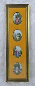 Antique Vienna Style Painted Porcelain Oval Plaques In Frame Victorian Figures