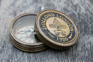 Vintage Maritime Dolland London Antique Brass Compass Nautical Gift Item 2