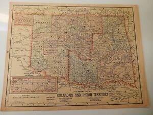 Original 1899 Map Of Oklahoma Indian Territory Arizona And New Mexico