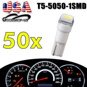 50x White T5 5050 Led Instrument Panel Dash Cluster Light Bulbs 17 18 37 73 74