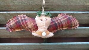 Primitive Handmade Folk Art Grungy Angel Doll Ornament With Lace