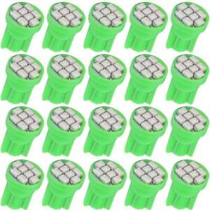 20x Green T10 8smd Wedge Led Instrument Panel Gauge Dash Light Bulbs W5w 192 168