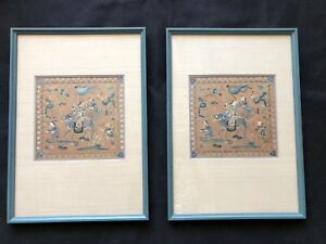 Antique Chinese Silk Hand Embroidery Silk Panels Nicely Framed Late 1800 S