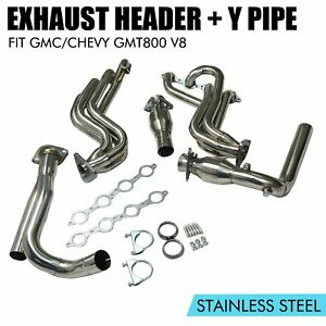 Performance Stainless Long Tube Exhaust Headers Y Pipe For Chevy Gmc Truck V8