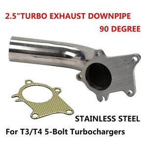 Turbo Exhaust Downpipe 90 Degree Stainless Steel 2 5 T3 T4 Gasket Kit Universal