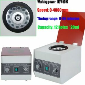 80 1 Electric Centrifuge Machine Lab Medical Practice 110v 4000 Rpm 20ml X 12 Jm