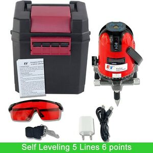 Laser Level 5 Lines 6 Points Levels With Tilt Slash Function 360 Self Leveling