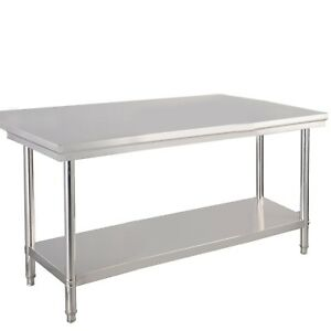2 Layers Stainless Steel Commercial Kitchen Food Prep Table Desk 48 X 30 X 35
