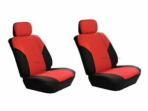 Polyester 4 Pcs Low Back Red Black Seat Covers For Auto Cars Suvs Front Pair