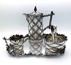 Julius Herz German 800 Silver Trompe L Oeil Presentation Tea Set On Tray