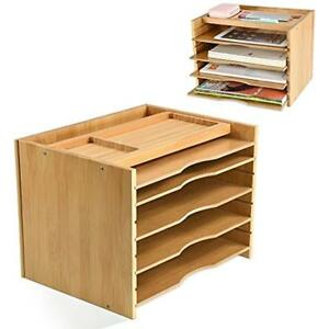 Bamboo Desktop Offsurface Shelves File Organizer Paper Sorter With 5 Dividers