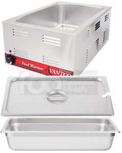 Full Size Electric 4 Pan Spoon Lid Countertop Buffet Food Warmer Commercial