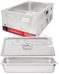 Full Size Electric 4 Pan Spoon Lid Countertop Slotted Food Warmer Commercial