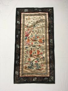 Antique Chinese Silk Tapestry Flowers And Figures Water Landscape Wall Hanging
