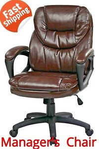 Manager s Chair With Padded Arms Faux Leather Chocolate Adjustment Height Relax