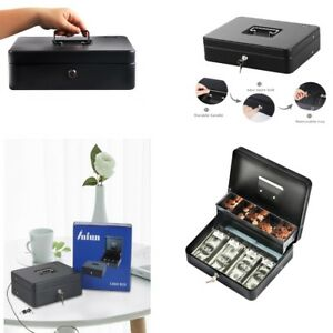 Cash Box With Money Tray And Lock 5 Compartment Durable 2 Keys 4 Spring Loaded