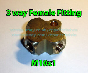 Brake Line Pipe Brass T 3 Way Female Fitting Connector Splitter M10x1 Metric